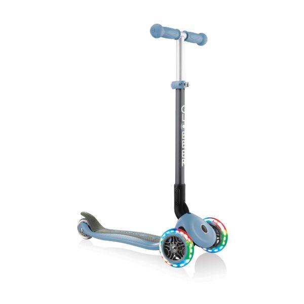 Сгъваема тротинетка със светещи гуми Globber Primo Foldable Lights, Пастелно синя - Тротинетки - Играчки за навън - Тротинетки с 3 колела за деца