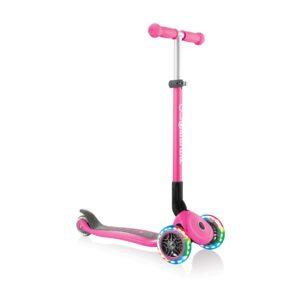 Сгъваема тротинетка със светещи гуми Globber Primo Foldable Lights, Розова - Тротинетки - Играчки за навън - Тротинетки с 3 колела за деца