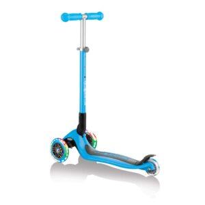 Сгъваема тротинетка със светещи гуми Globber Primo Foldable Lights, Светло синя - Тротинетки - Играчки за навън - Тротинетки с 3 колела за деца