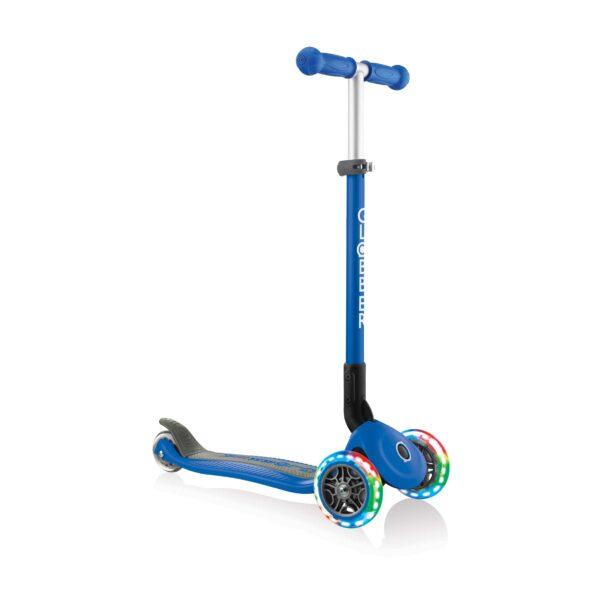 Сгъваема тротинетка със светещи гуми Globber Primo Foldable Lights, Тъмно синя - Тротинетки - Играчки за навън - Тротинетки с 3 колела за деца