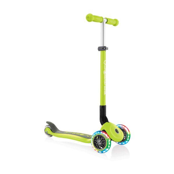 Сгъваема тротинетка със светещи гуми Globber Primo Foldable Lights, Зелена - Тротинетки - Играчки за навън - Тротинетки с 3 колела за деца