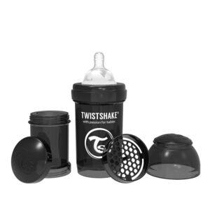 Шише против колики за бебета Twistshake 180 мл черно - За бебето - Хранене - Бебешки шишета и биберони