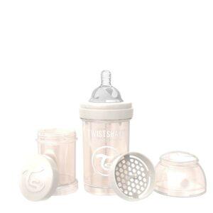 Шише против колики за бебета Twistshake 180 мл - Колекция Перла шампанско - За бебето - Хранене - Бебешки шишета и биберони