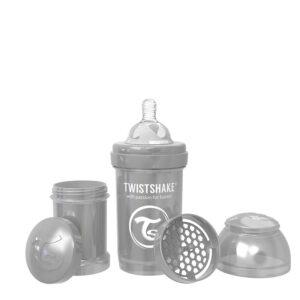 Шише против колики за бебета Twistshake 180 мл - Колекция Перла сиво - За бебето - Хранене - Бебешки шишета и биберони