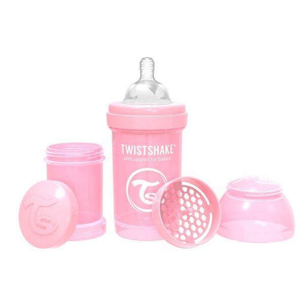 Шише против колики за бебета Twistshake 180 мл розово - За бебето - Хранене - Бебешки шишета и биберони