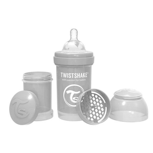 Шише против колики за бебета Twistshake 180 мл сиво - За бебето - Хранене - Бебешки шишета и биберони