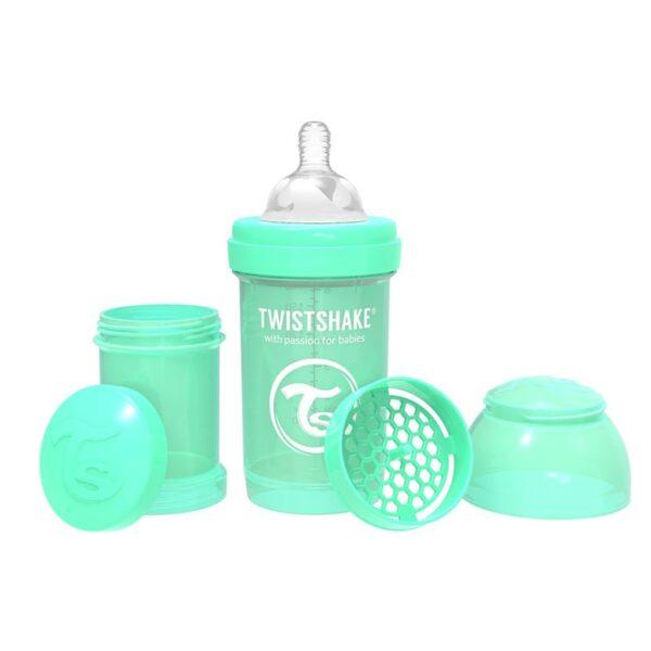 Шише против колики за бебета Twistshake 180 мл зелено - За бебето - Хранене - Бебешки шишета и биберони