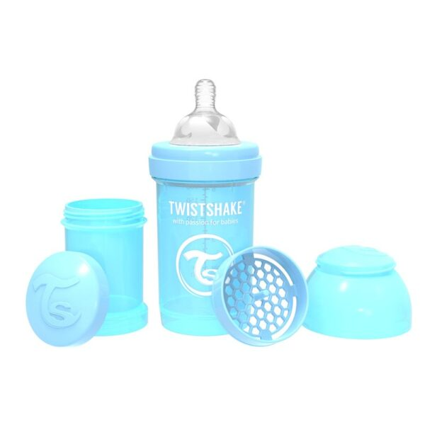 Шише за бебета против колики Twistshake 330 мл. светло синьо - За бебето - Хранене - Бебешки шишета и биберони