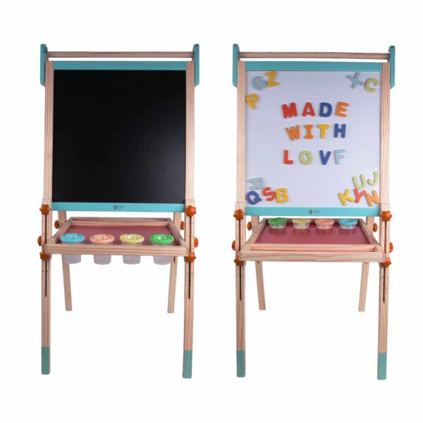 Стояща дървена дъска за рисуване и с магнитни букви - Детски играчки - Дървени играчки