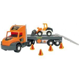 Супер голям камион с платформа и булдозер - Детски играчки - Детски камиончета и коли