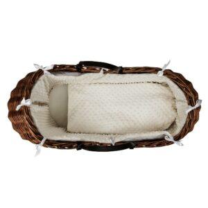 Тъмно плетено кошче за новородено с бял спален комплект - За бебето - Плетени кошчета за бебе