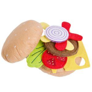Текстилен хамбургер за игра - Детски играчки - Кухни за игра - комплекти и консумативи - Дървени играчки