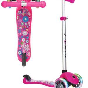 Тротинетка Primo Fantasy Light - Розова със светещи гуми щампа фигурни цветя - Тротинетки - Играчки за навън - Тротинетки с 3 колела за деца