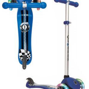 Тротинетка Primo Fantasy Light със светещи гуми - Синя състезателна щампа - Тротинетки - Играчки за навън - Тротинетки с 3 колела за деца