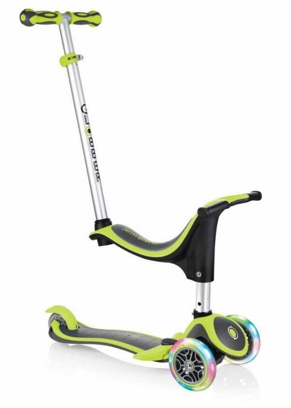 Тротинетка - триколка EVO 4 в 1 Plus Light със светещи колела и двуцветна платформа - Зелена - Тротинетки - Играчки за навън - Тротинетки с 3 колела за деца - Tротинетки със седалка 4 в 1