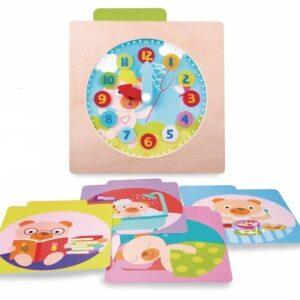 Цветен дървен часовник - Детски играчки - Образователни играчки - Дървени играчки