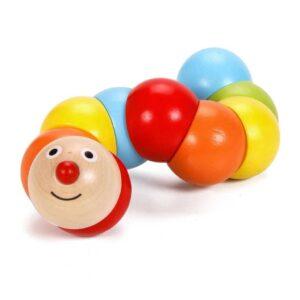 Цветна дървена гъсеница - дървена играчка - Детски играчки - Образователни играчки - Дървени играчки