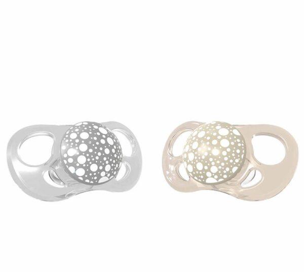 Залъгалки за бебета Twistshake 2 бр. 0-6 месеца сиво и бежово - За бебето - Хранене - Залъгалки и чесалки