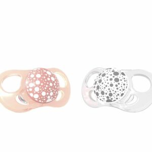 Залъгалки за бебета Twistshake 2 бр. 6+ месеца прасковено и бяло - За бебето - Хранене - Залъгалки и чесалки