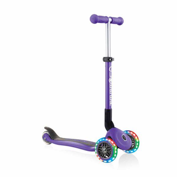 Сгъваема тротинетка със светещи колела, Globber Junior - 2+ г., лилава - Тротинетки - Играчки за навън - Тротинетки с 3 колела за деца