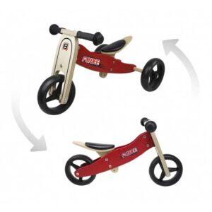 Дървено колело за баланс 2 в 1 FUNBEE - червено - Играчки за навън - Балансиращи колела - Детски триколки и четириколки