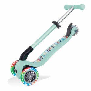 Сгъваема тротинетка със светещи колела Globber Junior Fantasy Lights, ментово зелена - Тротинетки - Играчки за навън - Тротинетки с 3 колела за деца